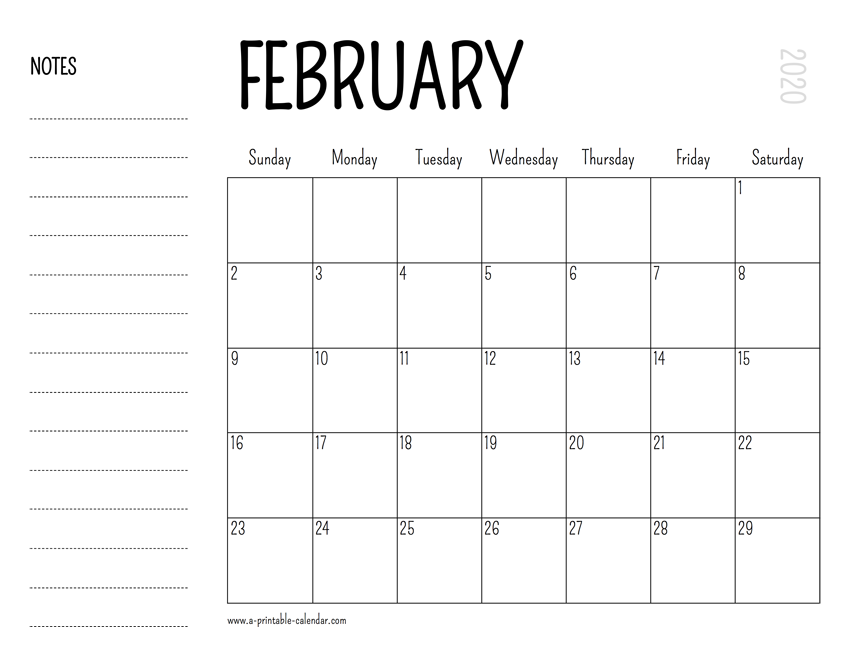 February Printable Calendar 2020.February 2020 Printable Calendar