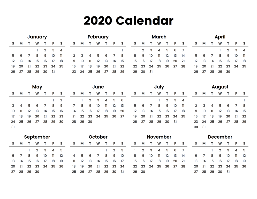 2020 Printable Yearly Calendar.Full Year Calendar 2020
