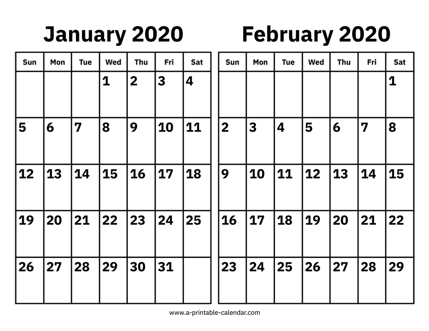 January And February 2020 Calendar Printable Calendar 2020
