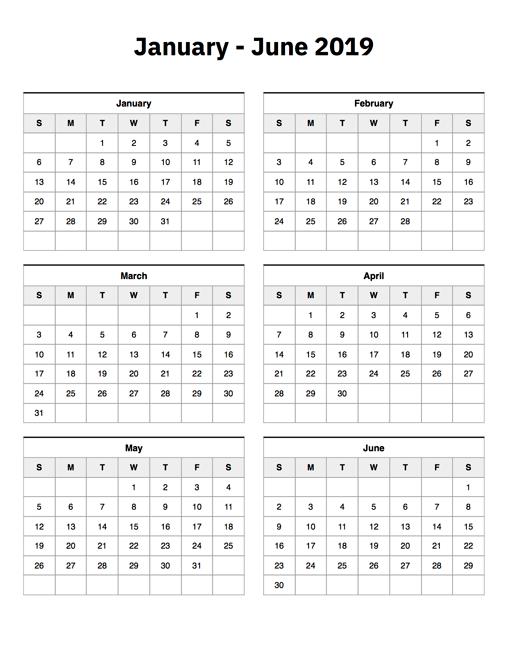 January To June 2019 Calendar – Printable Calendar 2019