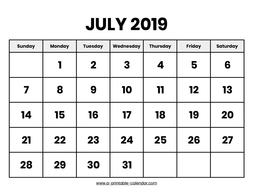 image regarding Printable July Calendar identified as July 2019 Calendar Printable