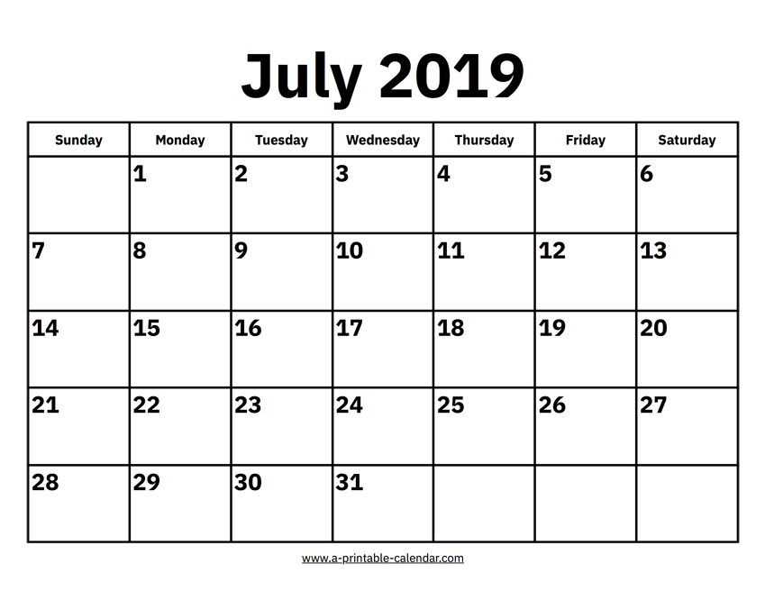image relating to Calendar for July Printable referred to as July 2019 Calendars Printable Calendar 2019