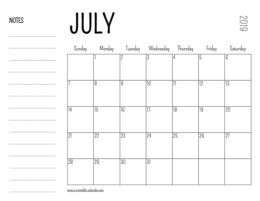 photograph relating to Calendar for July Printable titled July 2019 Printable Calendar