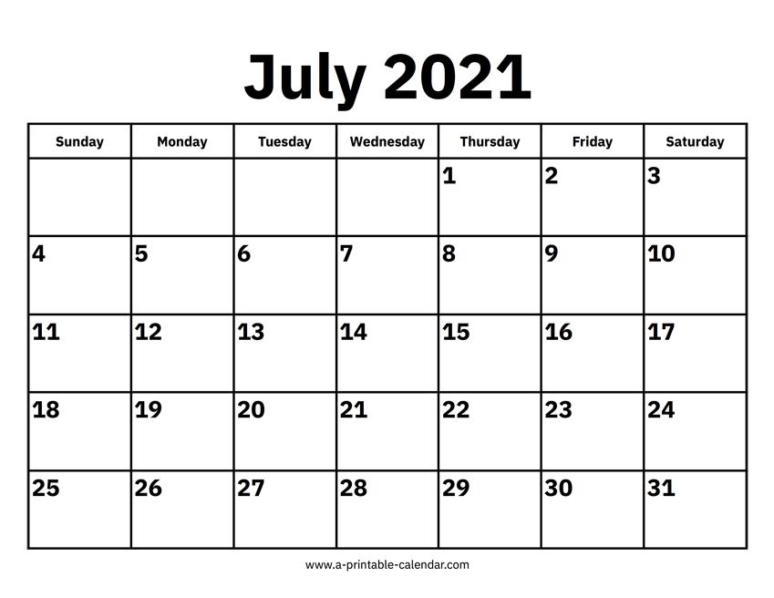 July 2021 Calendars Printable Calendar 2021