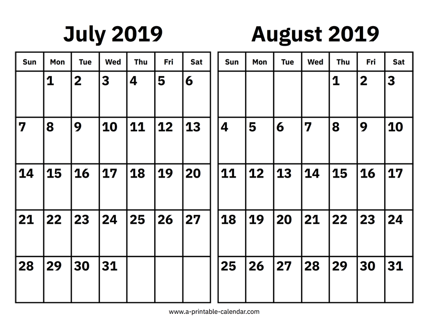 picture relating to Free Printable Calendar August known as July And August 2019 Calendar Printable Calendar 2019