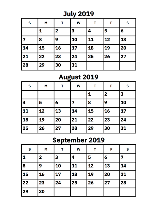 June July August 2019 Calendar Printable.July August And September 2019 Calendar Printable Calendar 2019