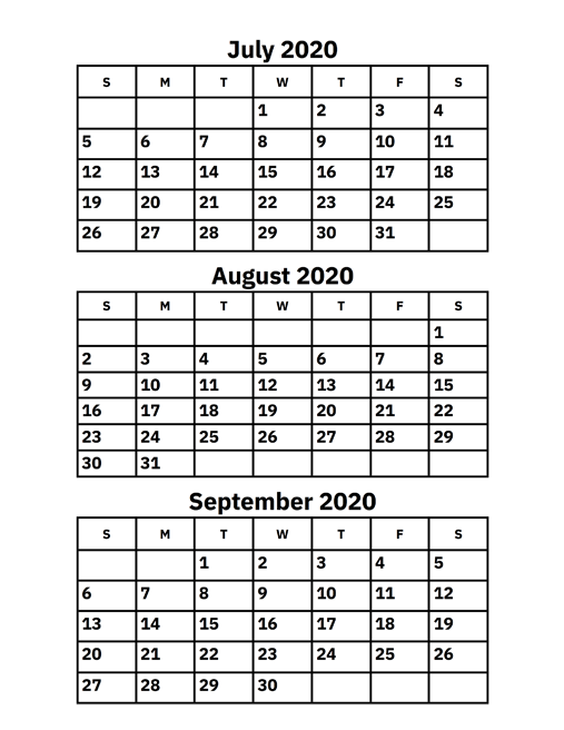 July August And September 2020 Calendar Printable Calendar 2020