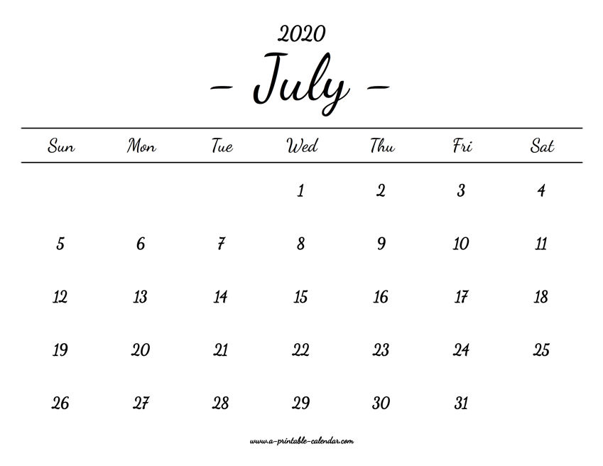 picture regarding Calendar 2020 Printable named July Calendar 2020 Printable