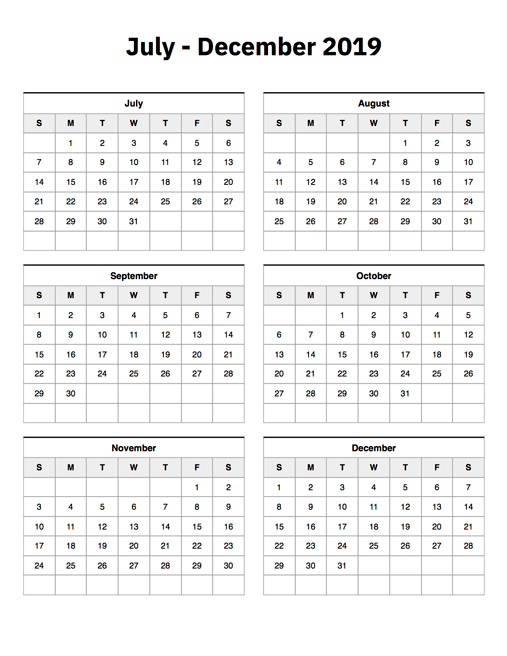 picture relating to Calendar for July Printable referred to as July In direction of December 2019 Calendar Printable Calendar 2019