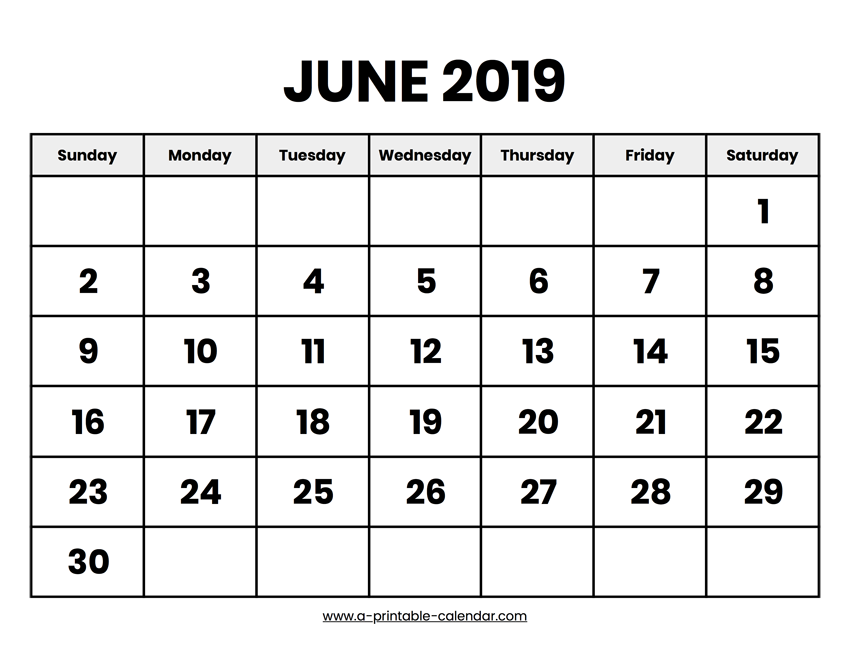 picture about June Printable Calendar identified as June 2019 Calendar Printable