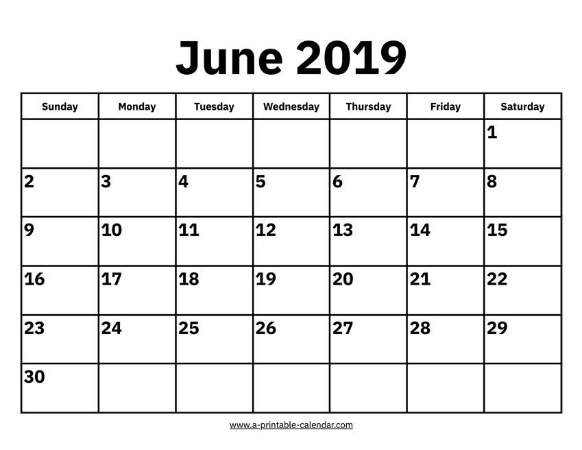 June 2019 Calendar June 2019 Calendar
