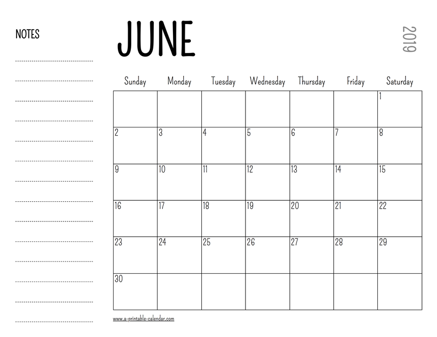 picture relating to Printable June named June 2019 Printable Calendar