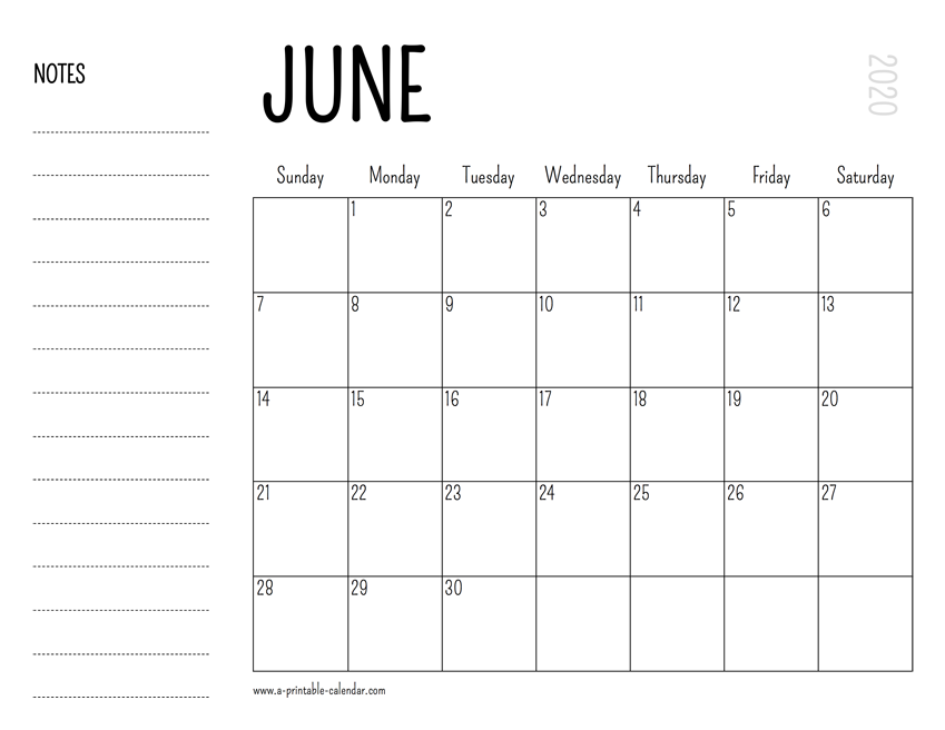 Printable Calendar June 2020.June 2020 Printable Calendar
