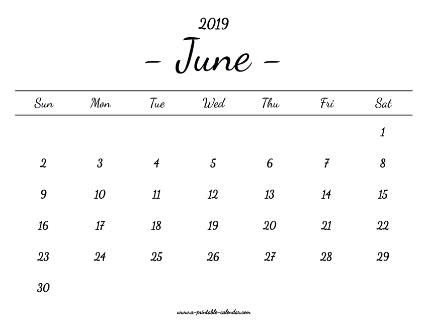 graphic about Printable June Calendar titled June Calendar 2019 Printable