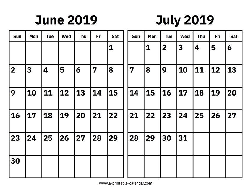 June And July 2019 Calendar Printable Calendar 2019
