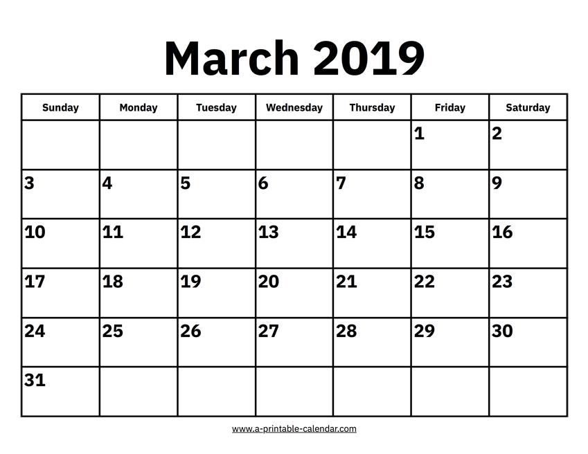 2019 March Calendar Calendar 2019 March