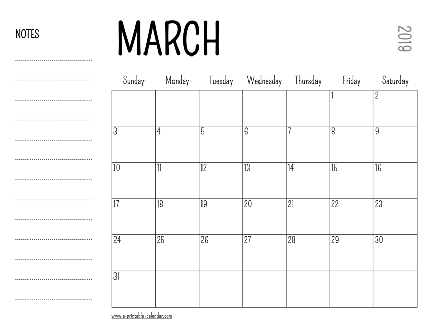 image regarding Calendar March Printable called March 2019 Printable Calendar
