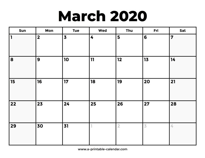Free Printable Calendar 2020 March 2020 Calendar With Holidays