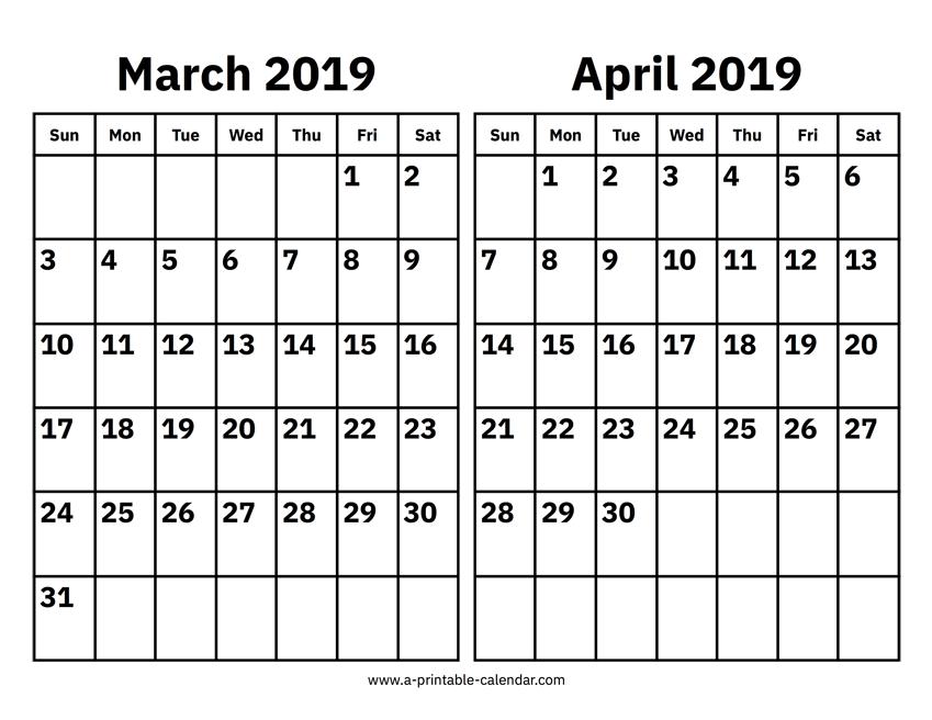 March And April 2019 Calendar Printable Calendar 2019