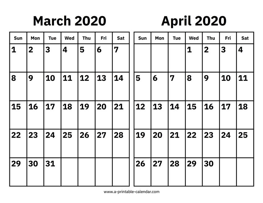 march april calendar 2020 printable
