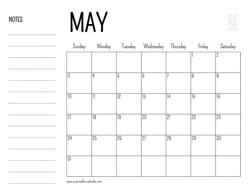May Printable Calendar 2020.May 2020 Printable Calendar