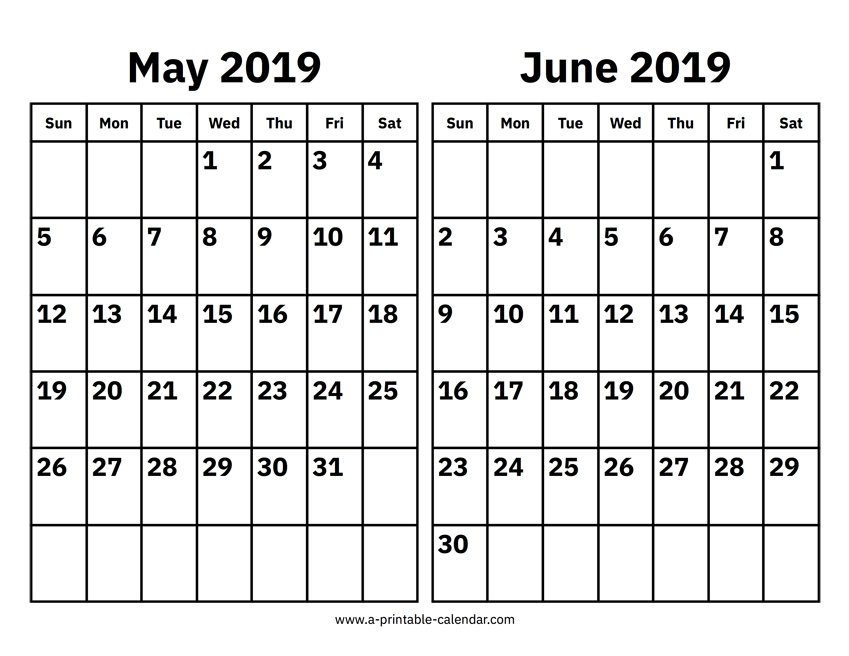 photo about Printable June titled May well And June 2019 Calendar Printable Calendar 2019