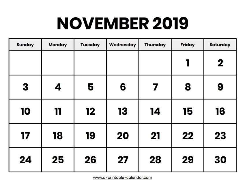 graphic about Printable Nov Calendar identified as November 2019 Calendar Printable