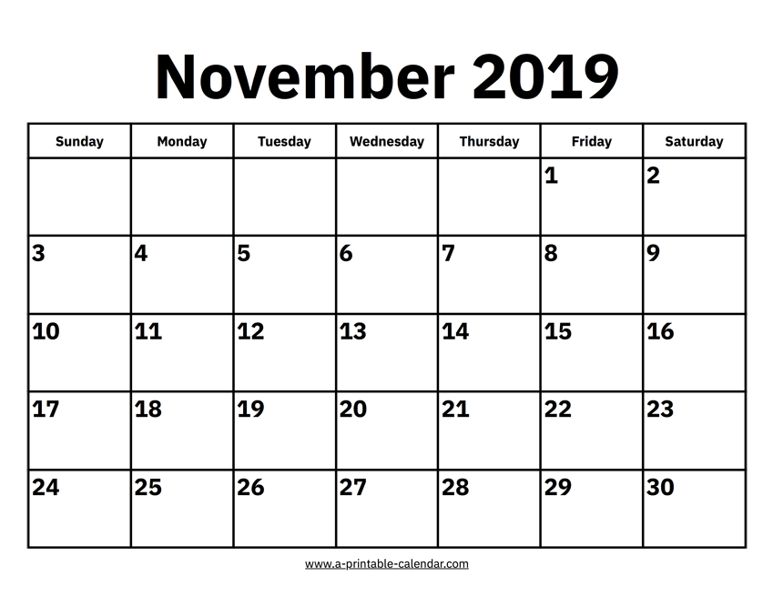 photo about Nov Calendar Printable identified as November 2019 Calendars Printable Calendar 2019
