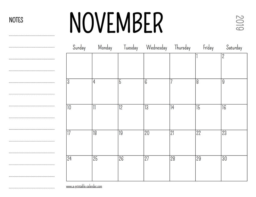 picture regarding November Printable Calendar titled November 2019 Printable Calendar