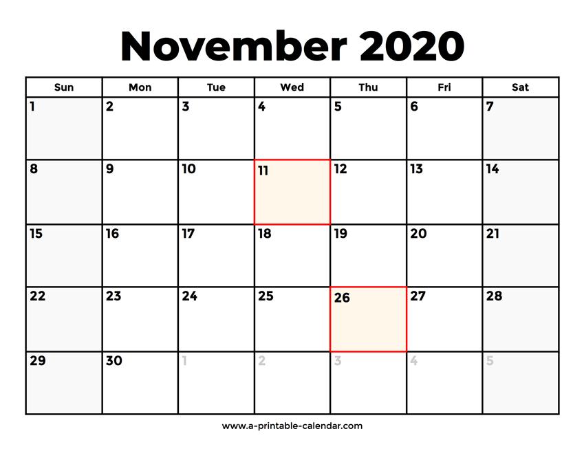 November Calendar 2020 Printable.November 2020 Calendar With Holidays