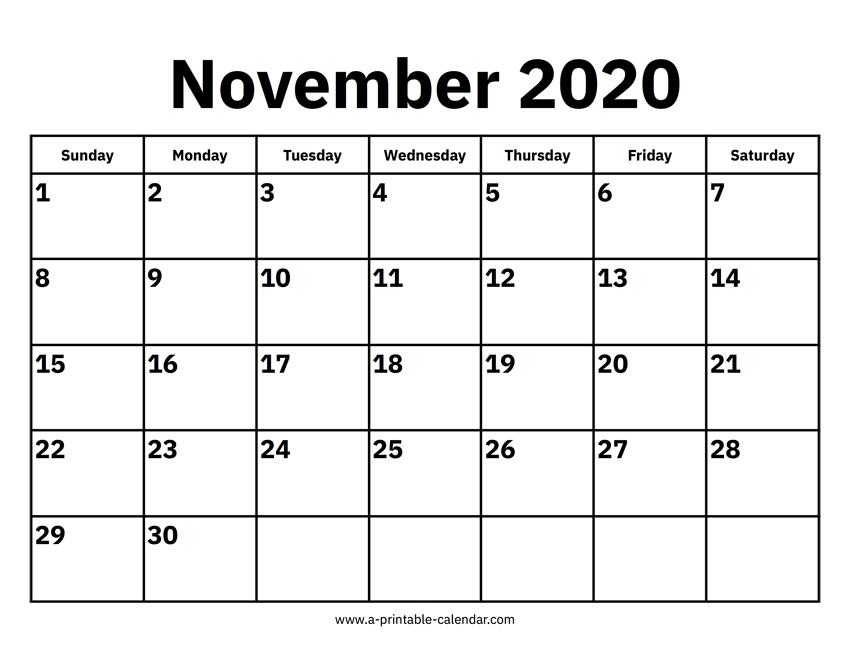 November Calendar 2020 Printable.November 2020 Calendars Printable Calendar 2020