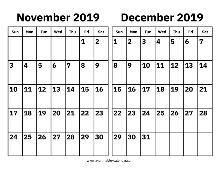 graphic about Printable Calendar November named November And December 2019 Calendar Printable Calendar 2019