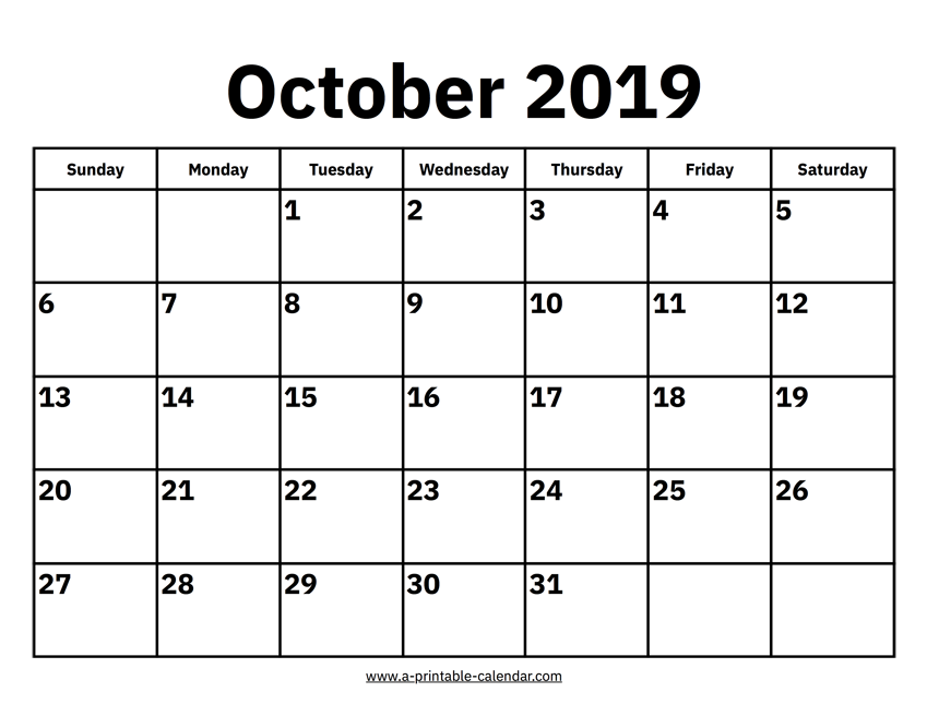 image relating to Printable Calendar for October named Oct 2019 Calendar