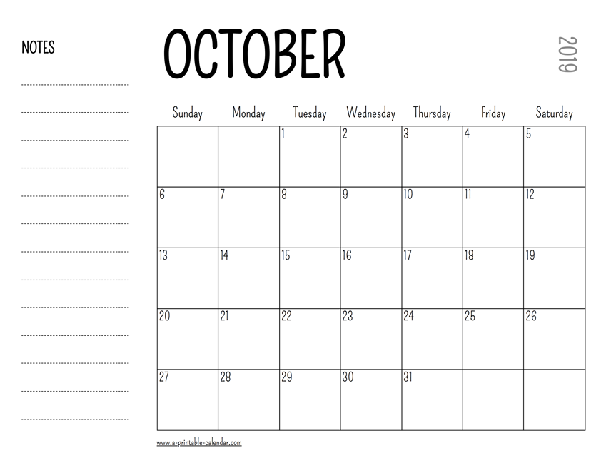 photograph relating to Printable Calendar for October referred to as Oct 2019 Printable Calendar