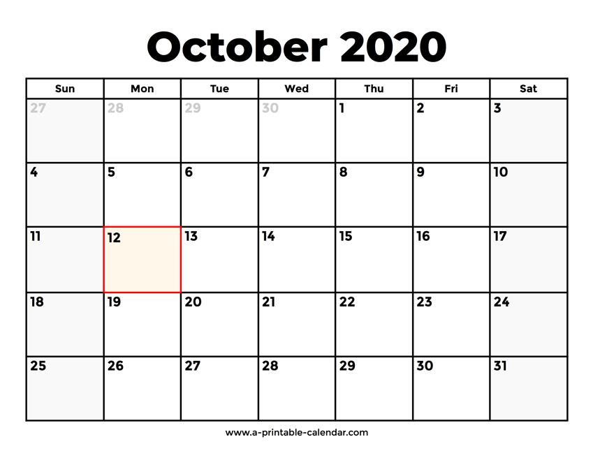 Printable Calendar October 2020.October 2020 Calendar With Holidays