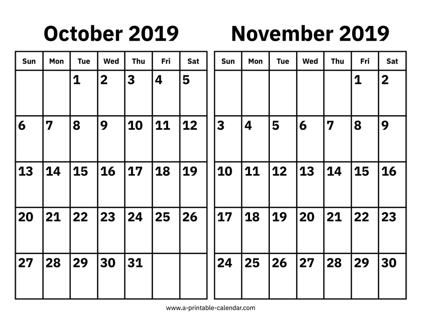 picture relating to Printable Oct Calendar called Oct And November 2019 Calendar Printable Calendar 2019