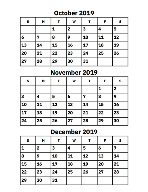 graphic relating to Printable Calendar for October identified as Oct, November And December 2019 Calendar Printable