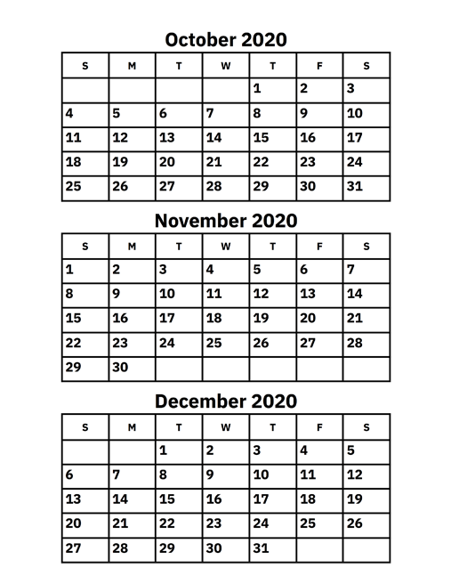 October, November And December 2020 Calendar – Printable Calendar 2020