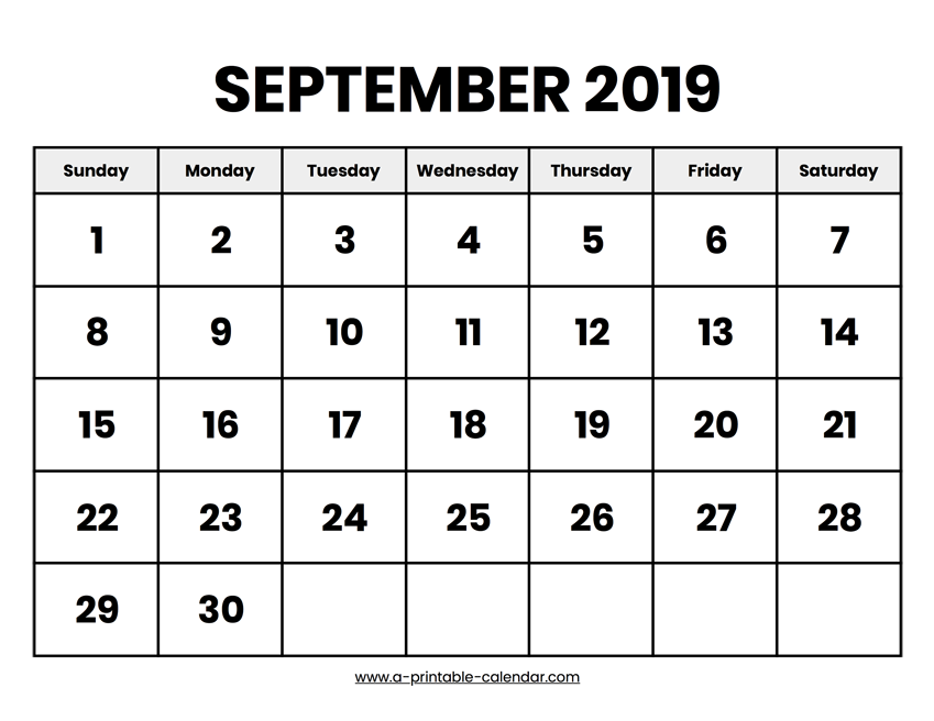 photograph about Calendars Printable called September 2019 Calendar Printable