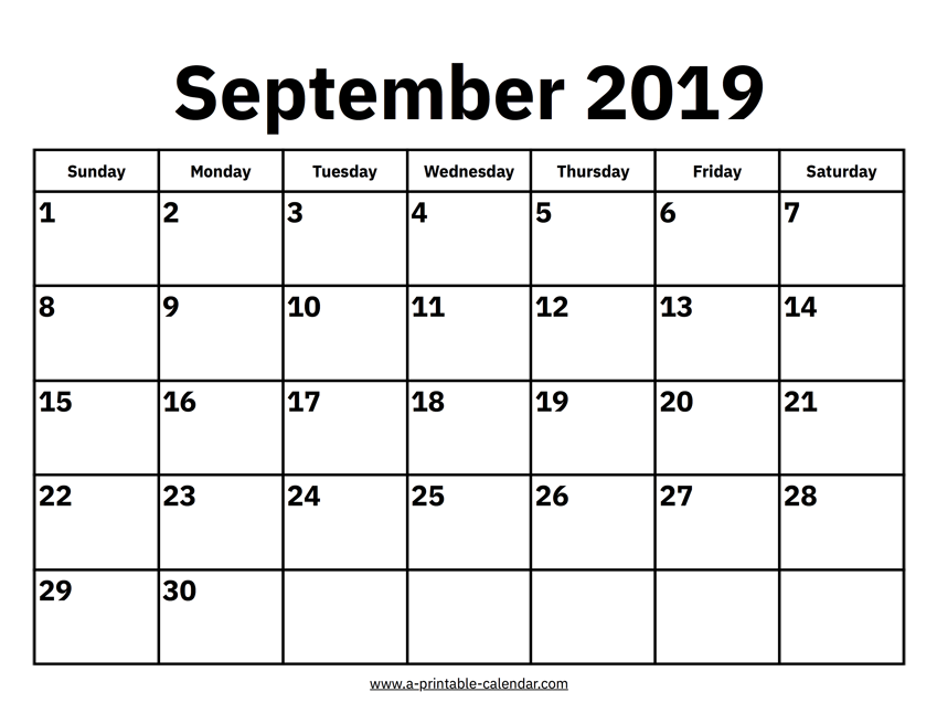 picture relating to September Printable Calendar titled September 2019 Calendar