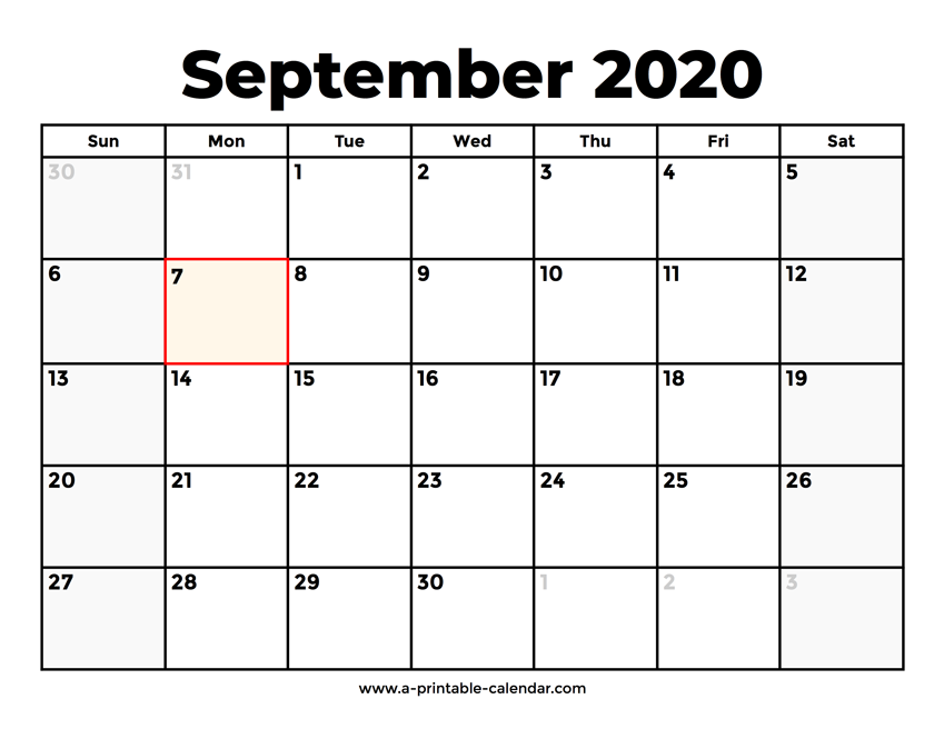 September Calendar 2020 Printable.September 2020 Calendar With Holidays