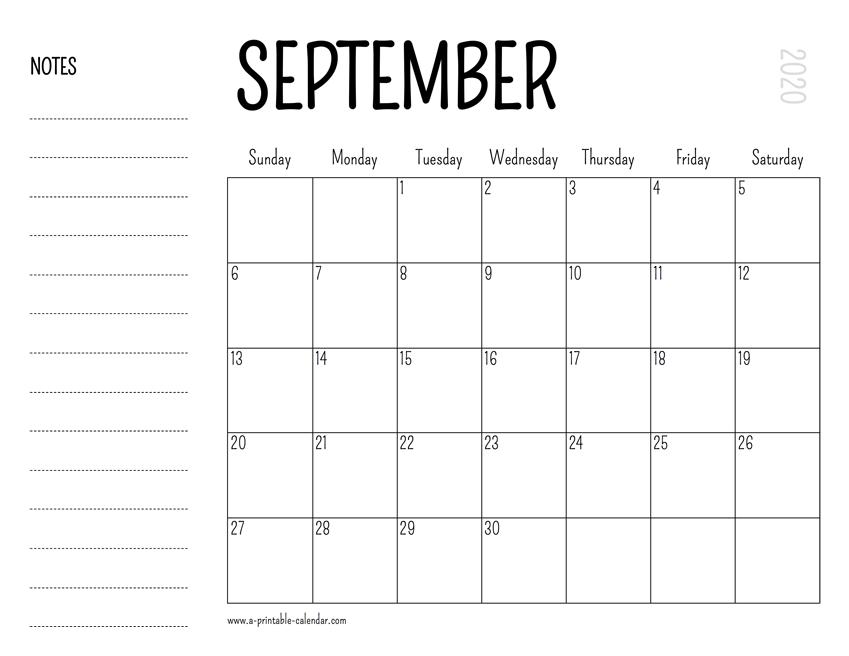 photograph relating to Printable Calendar September known as September 2020 Printable Calendar