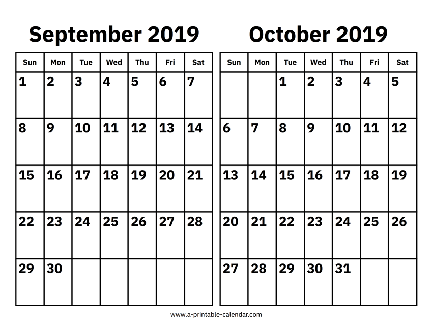 graphic regarding October Calendar Printable named September And Oct 2019 Calendar Printable Calendar 2019