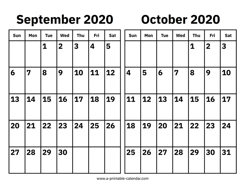September And October 2020 Calendar Printable Calendar 2020