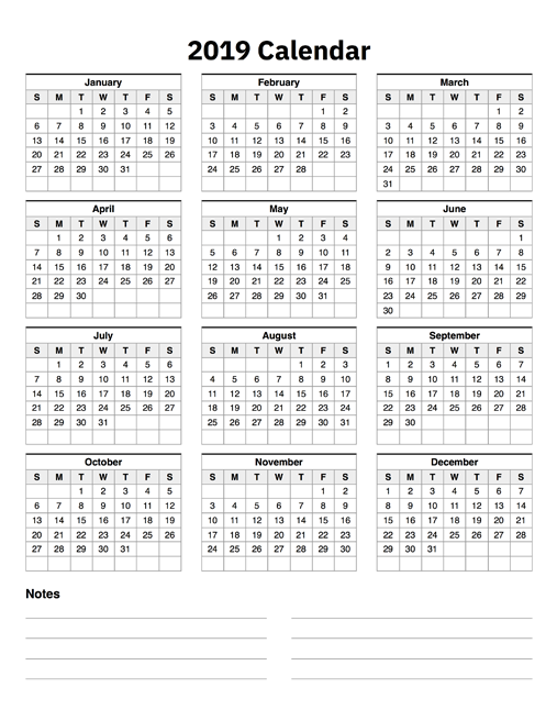 image relating to Printable Calendar on One Page called 2019 Calendar A single Website page With Notes