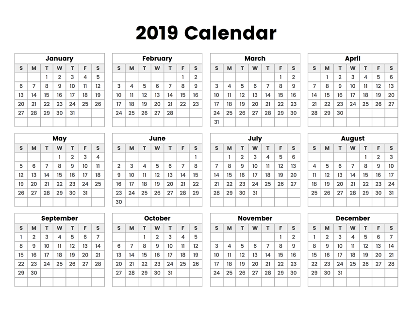 One Year Calendar 2019 Yearly Calendar 2019