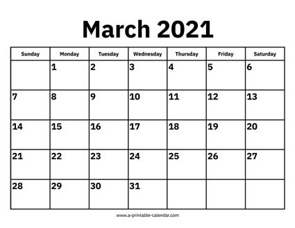 Calendar 2021 March March 2021 Calendar