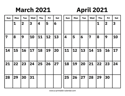 March April May 2021 Calendar March and April 2021 Calendar
