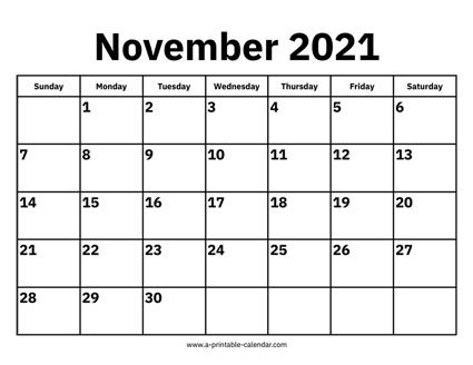 November 2021 Calendar November 2021 Calendar