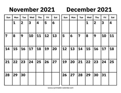 Calendar November And December 2021 November and December 2021 Calendar